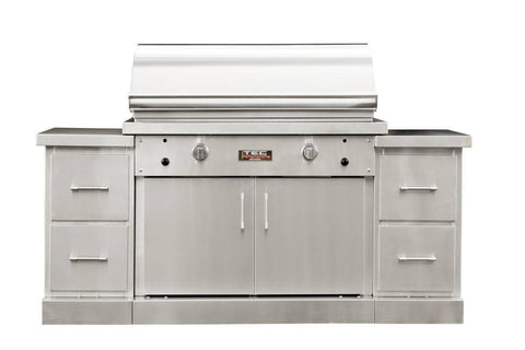 "TEC 44"" Freestanding Sterling Patio FR Infra-Red Gas Grill Stainless Steel Island w/ Shelves - Yardandpool.com"