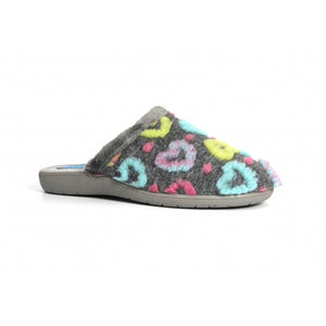 Lunar Apricot Heart Mule Slipper - Grey