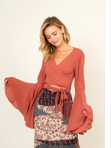 Rust Boho Bell Sleeve Top (One LG available)