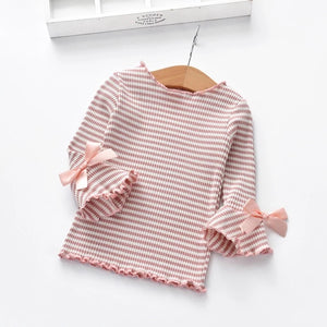 Striped Bow Sleeve Top (4T)
