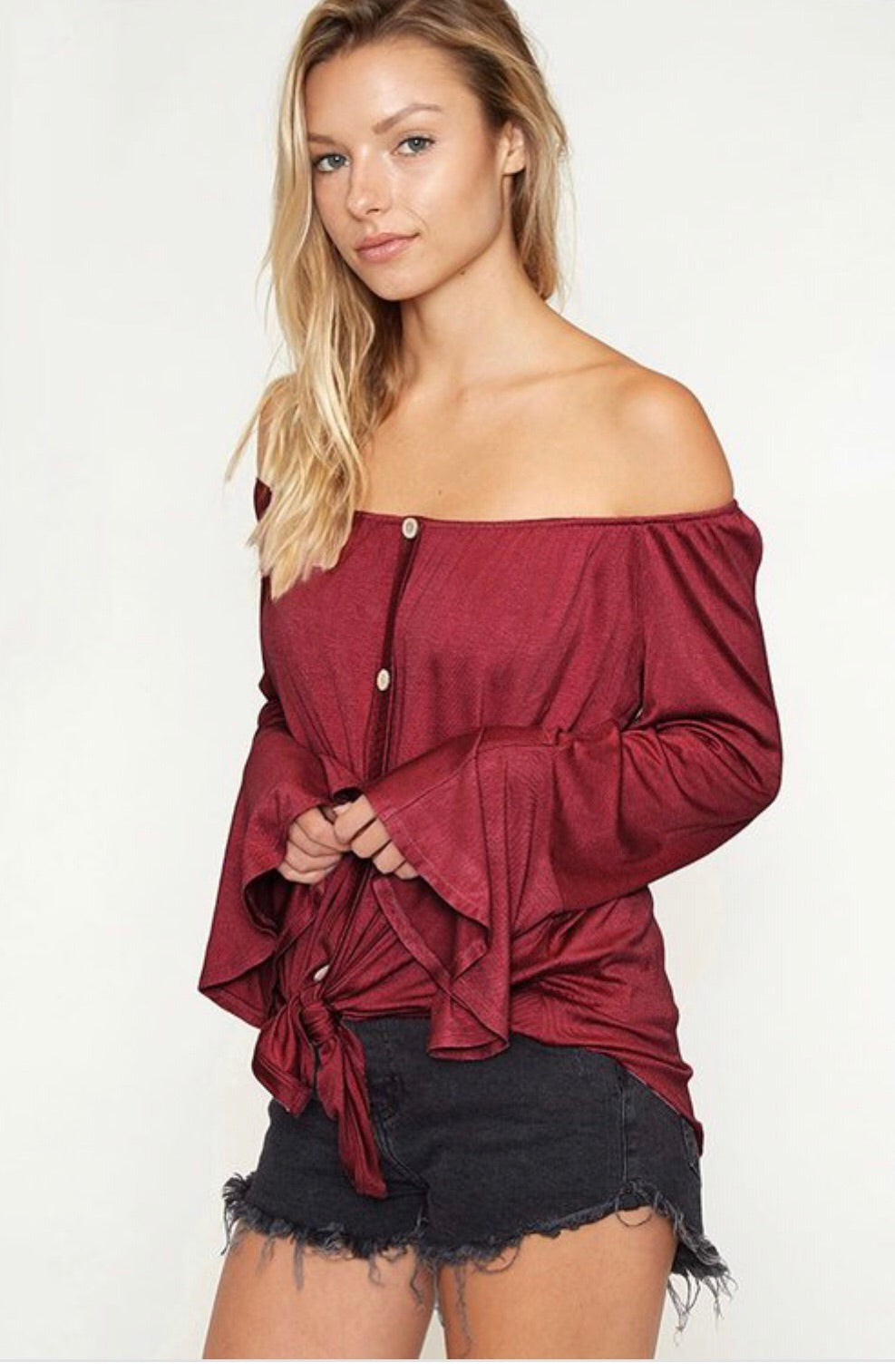 Off Shoulder Button Down Bell Sleeve (MD, LG)