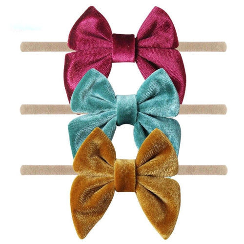 Velvet Bow on Nylon (Set of 3)- More Color Options