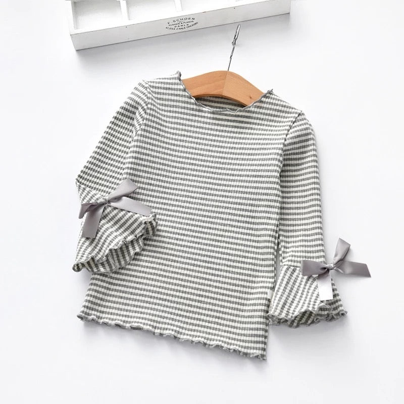 Striped Bow Sleeve Top (3T) SALE