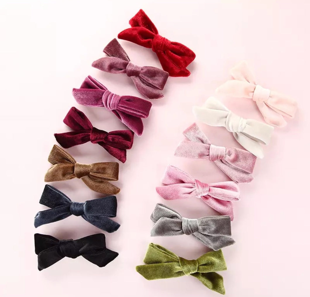Velour Bow Clips 13 Piece Set