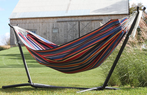 Vivere C9POLY-11 Combo - Double Polyester Hammock with Stand (9ft)