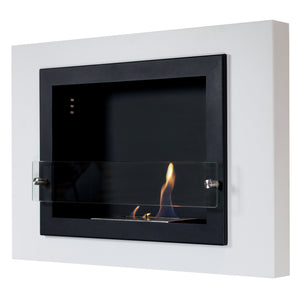 Camino Bianco Wall Mounted Fireplace with Free 3 Pack of Fuel (4 Sizes Available)