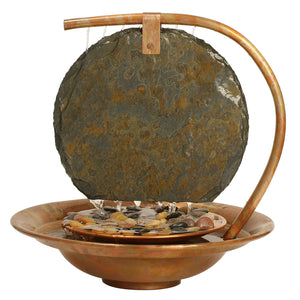Large Moonshadow Slate Tabletop Fountain with Free 8 oz. Fountec and Protec