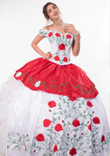 Quinceanera Charro Dress. Red with White.