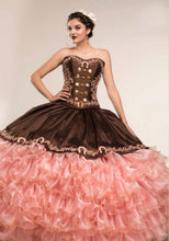 Quinceanera Charro Dress. Brown with Pink.
