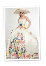 Quinceanera Charro Dress. Ivory multi color.