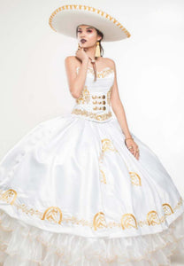 Quinceanera Charro Dress. White with Gold.