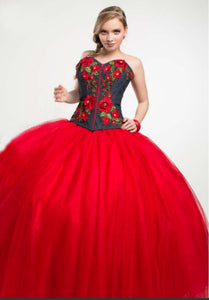 Quinceanera Charro Dress. Red with Blue.