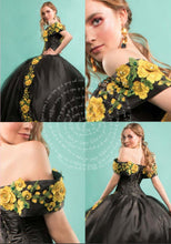 Quinceanera Charro Dress. Black with Yellow.