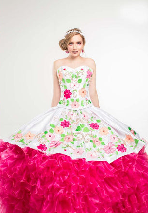 Quinceanera Charro Dress. White with Hot pink