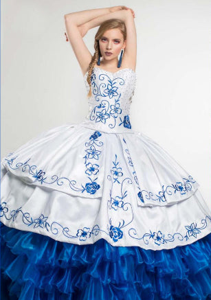 Quinceanera Charro Dress. Royal Blue with White.