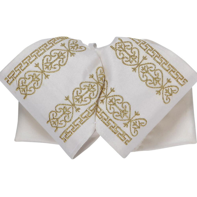 White & Gold Charro Bow
