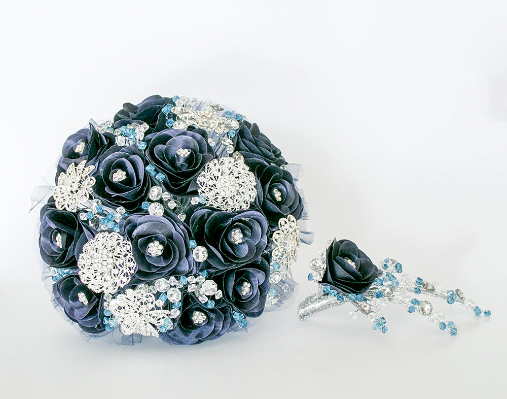 Quinceanera Flower Bouquet. Navy Blue and Silver.