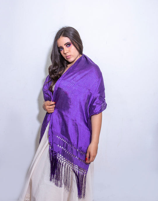 Mexican Rebozo Handmade by Artisans. Purple.