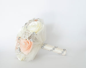 Quinceanera Flower Bouquet. White, Blush and Silver.