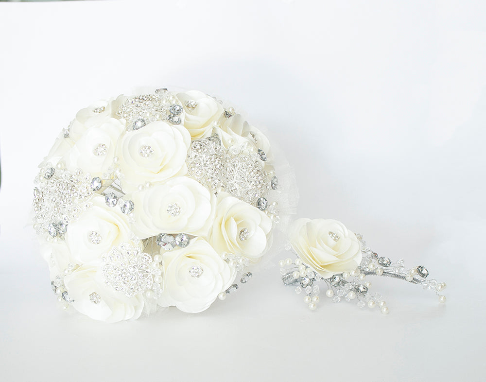 Quinceanera Flower Bouquet. White and Silver.