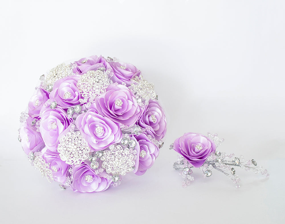 Quinceanera Flower Bouquet. Lilac and Silver.