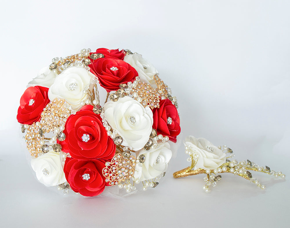 Quinceanera Flower Bouquet. Red, White and Silver.