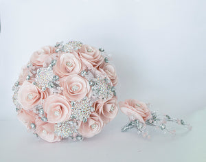 Quinceanera Flower Bouquet. Blush and Silver.