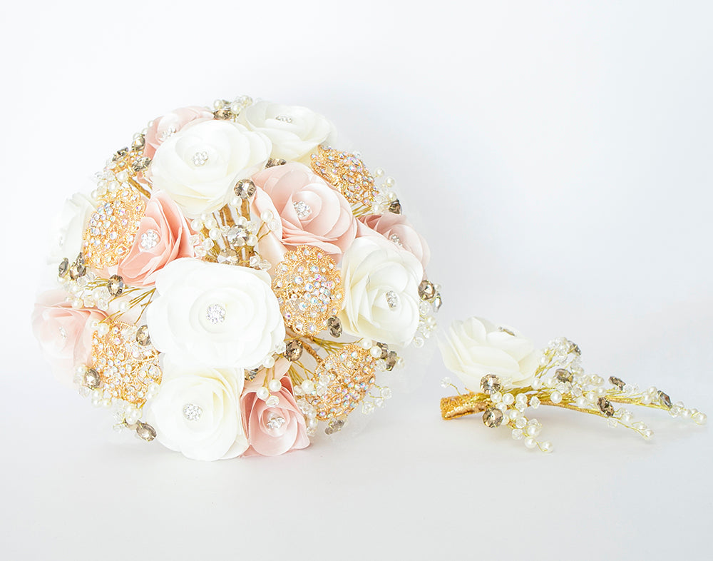 Quinceanera Flower Bouquet. Blush, White and Gold.