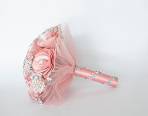 Quinceanera Flower Bouquet. Dusty Pink and Silver.