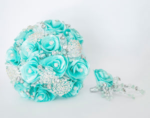 Quinceanera Flower Bouquet. Aqua and Silver.