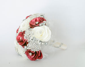 Quinceanera Flower Bouquet. White, Burgundy and Silver.