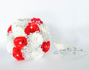 Quinceanera Flower Bouquet. White, Red and Silver.