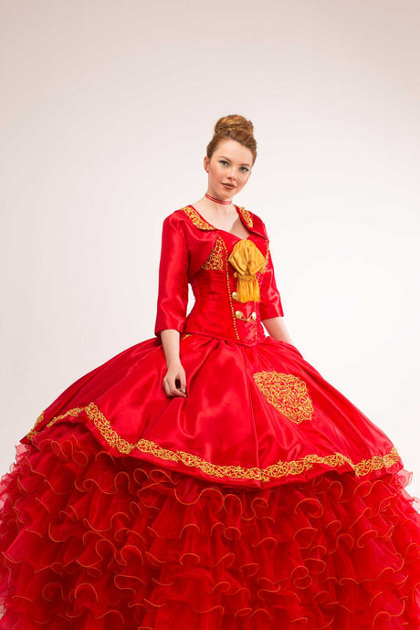 Quinceanera Charro Dress. Red with Gold.
