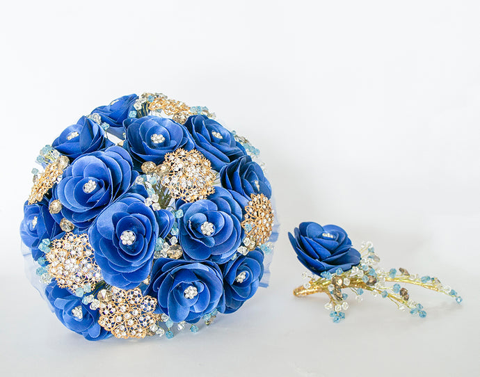 Quinceanera Flower Bouquet. Royal Blue and Gold.