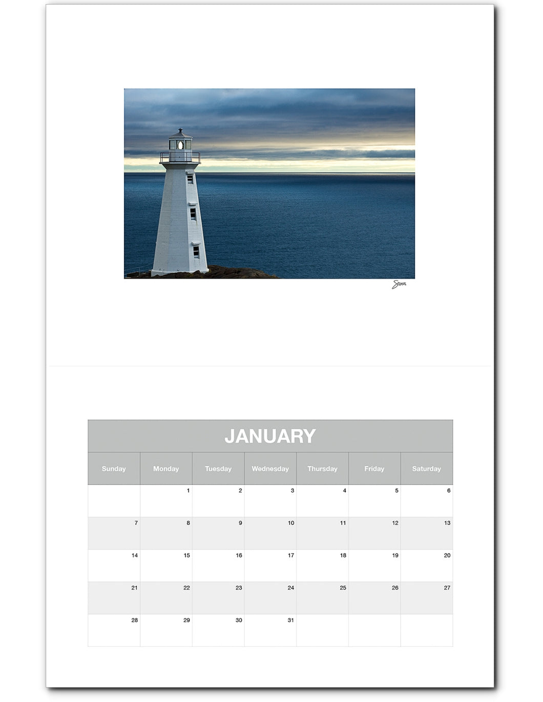 Monthly Calendar (2019), Cape Spear