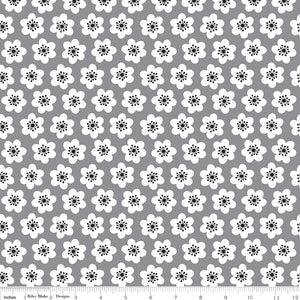 Delilah- Gray medium floral --Riley Blake