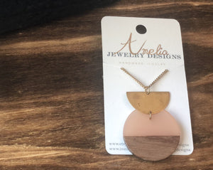 ~Peach and Wood Circle with Gold Half-Moon Necklace~ - September Nail Salon