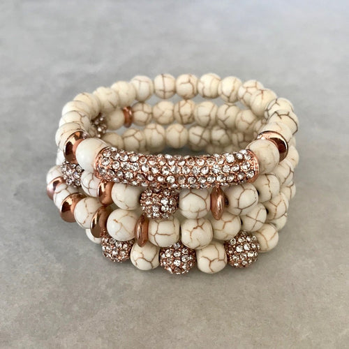 Stacked White Turquoise Bracelets - September Nail Salon