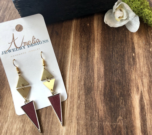 ~Tripple Triangle Pendant in Gold and Burgandy~ - September Nail Salon