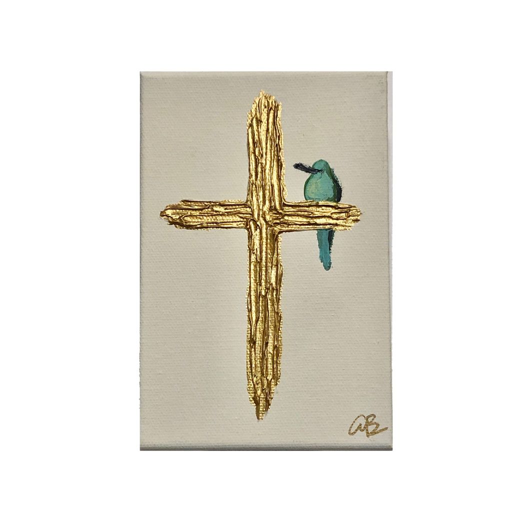 Blue Bird Cross Painting
