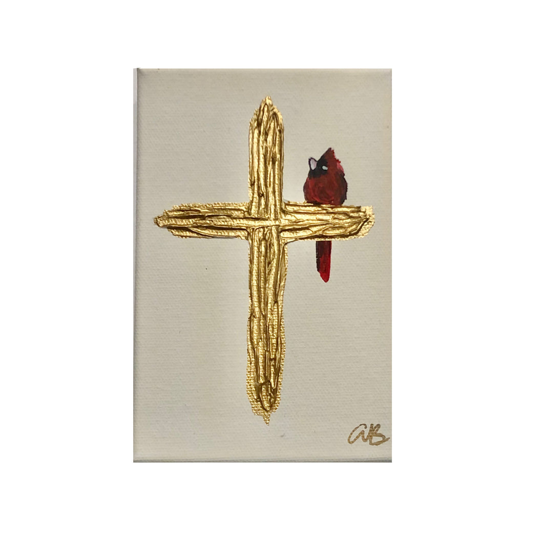 Red Cardinal Cross Painting