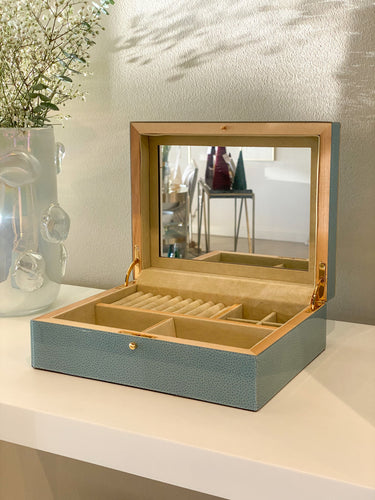 Blue Shagreen Jewelry Box