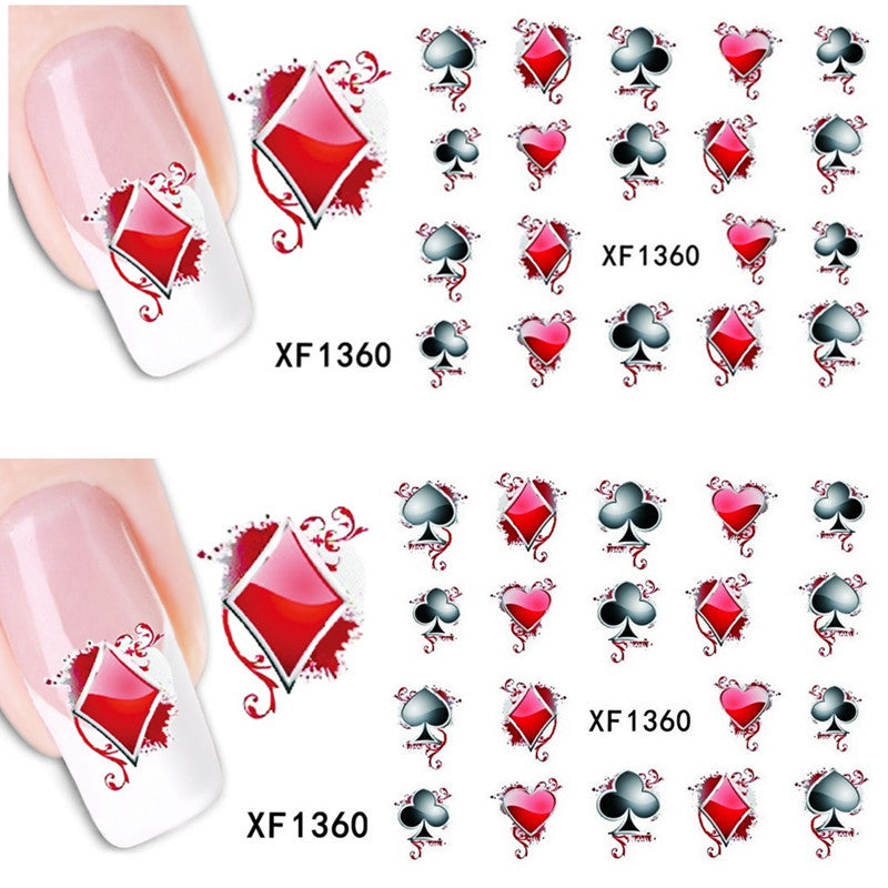 Nails 1 Sheets Diy Designs Water Transfer Playing Card Casino Nail