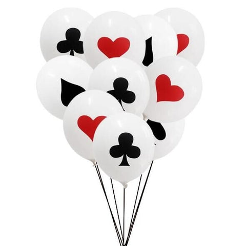 10pcs/lot 12inch Spades/Hearts/Clubs/Diamonds Latex Balloon Casino Poker Party Supplies - casinomegastore