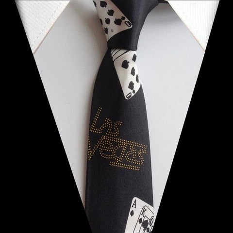 Unique Design Ties with Poker Patterns Necktie for Casino Gamblers Las Vegas - casinomegastore