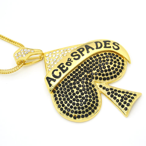Stunning Bling Large Size Ace of Spades Pendant Necklace - casinomegastore
