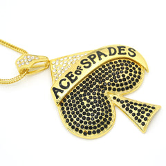 Stunning Bling Large Size Ace of Spades Pendant Necklace