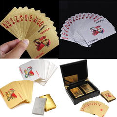 Exquisite GIFT! 2 Deck Cards 24k Gold Foil  With Certificate In Black Wooden Box High Roller