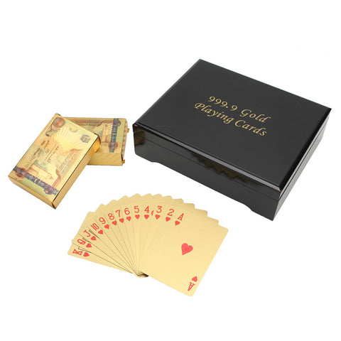 Exquisite GIFT! 2 Deck Cards 24k Gold Foil  With Certificate In Black Wooden Box High Roller - casinomegastore