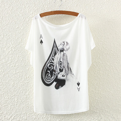 SMASHING HOT TRENDY!  New Arrival T-shirt for Baccarat 21 Poker - Ace Spades Women Printed  Casual Short Sleeve - casinomegastore